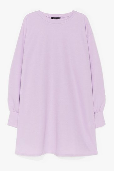 Lilac Plus Size Mini Sweatshirt Dress