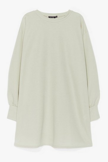Sage Oh Wait a Mini Plus Sweatshirt Dress