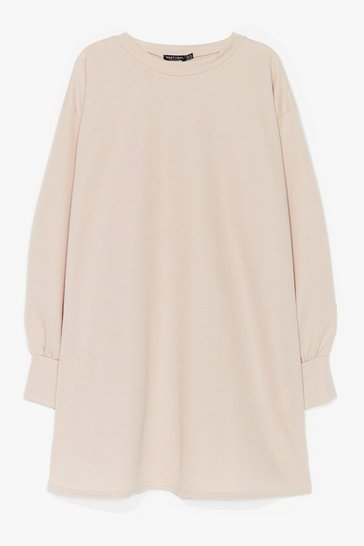 Sand Oh Wait a Mini Plus Sweatshirt Dress
