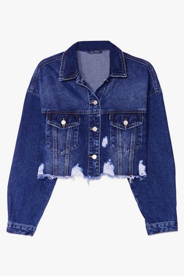 Blue Wash You Were Here Distressed Cropped Denim Jacket