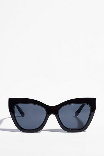 Black Purr-fect to Me Oversized Cat-Eye Sunglasses