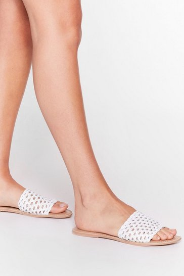 White Cut-Out of Harm's Way Flat Mules