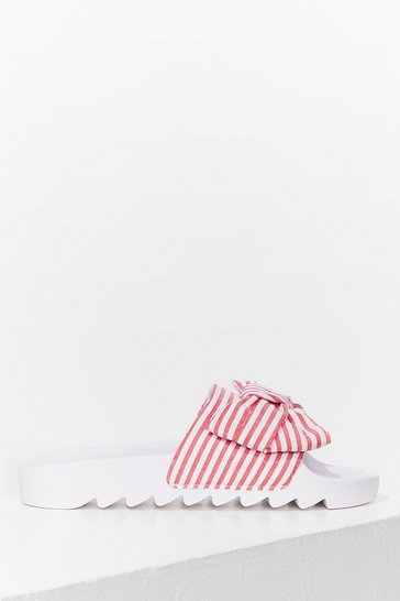 Pink Bow Away Cleated Striped Sliders