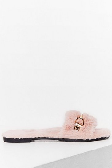 Pink As Faux Fur As We Know Buckle Slippers