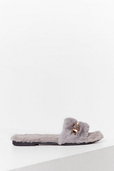 Grey As Faux Fur As We Know Buckle Slippers