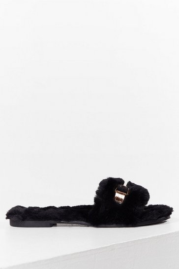 Black As Faux Fur As We Know Buckle Slippers