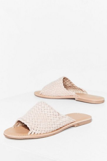 Nude You'll Never Walk Alone Suede Flat Sandals