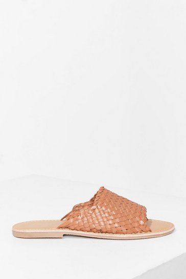 Tan You'll Never Walk Alone Leather Flat Sandals