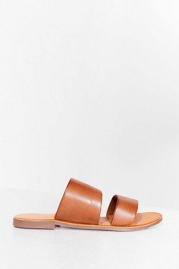 Tan Born to Mule Leather Flat Sandals