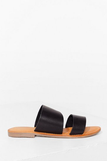 Black Faux Leather Wide Strap Flat Sandals