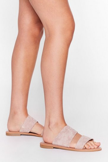 Nude Born to Mule Wide Fit Faux Suede Flat Sandals