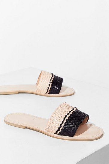 Natural Woven You Long Time Leather Flat Sandals