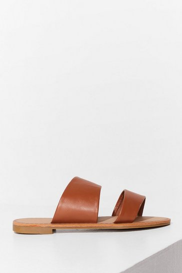 Tan Born to Mule Wide Fit Flat Sandals
