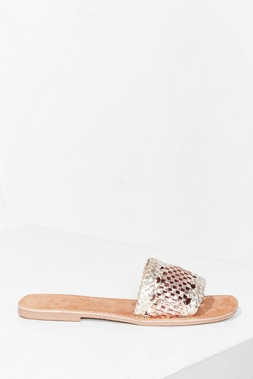 Gold Woven You Long Time Metallic Flat Sandals