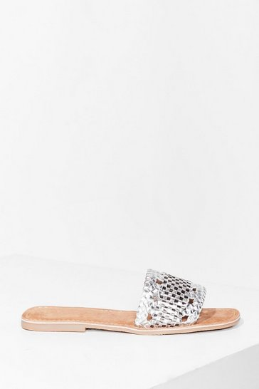 Silver Woven You Long Time Metallic Flat Sandals