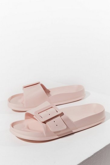 Pink Find Your Feet Chunky Buckle Sliders