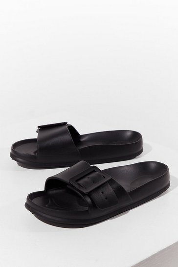 Black Find Your Feet Chunky Buckle Sliders