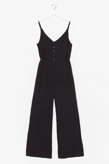 Black It Button Help Wide-Leg Jumpsuit