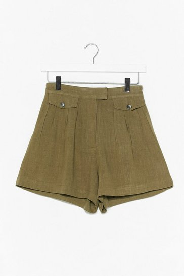 Khaki Off Duty Linen Utility Shorts