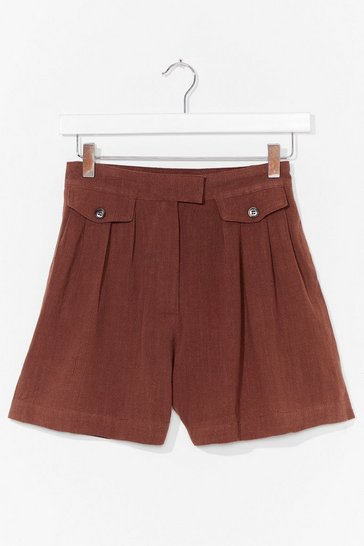 Rust Off Duty Linen Utility Shorts