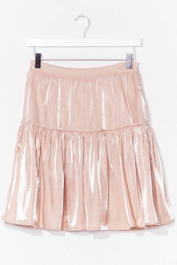 Nude Sheen Your Point Satin Mini Skirt