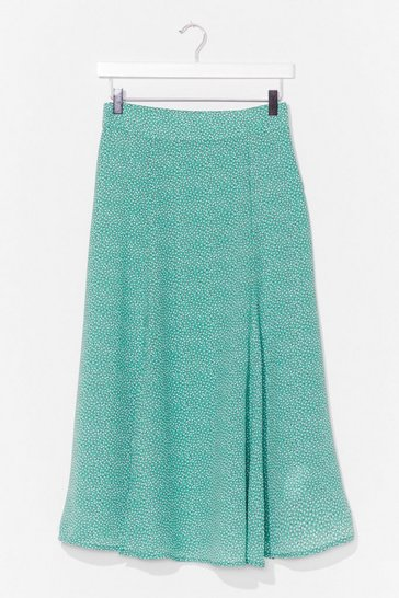 Green Put 'Em On the Spot High-Waisted Midi Skirt