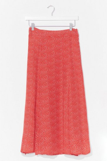 Red Put 'Em On the Spot High-Waisted Midi Skirt