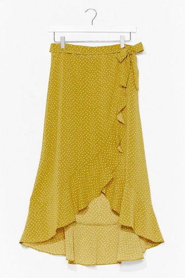 Olive You Gotta Be Midi-ng Me Spotty Wrap Skirt