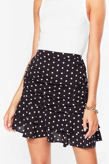 Black Still Dot It Ruffle Mini Skirt