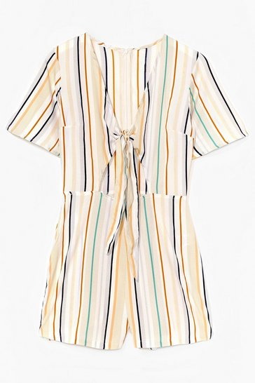 Cream Your Sunshine Stripe Tie Playsuit