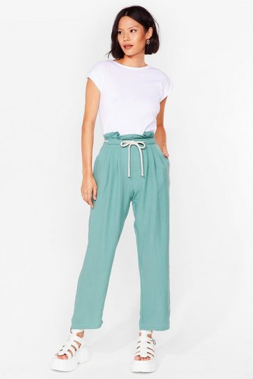 Sage Loose Yourself to Dance Paperbag Pants