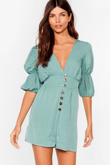 Sage Way Button-Down Deep Romper