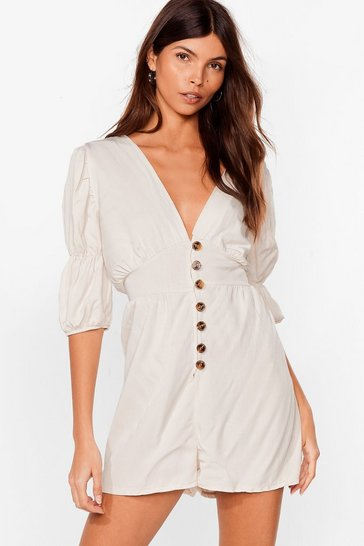 Stone Way Button-Down Deep Playsuit