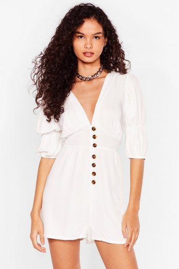 White Way Button-Down Deep Playsuit