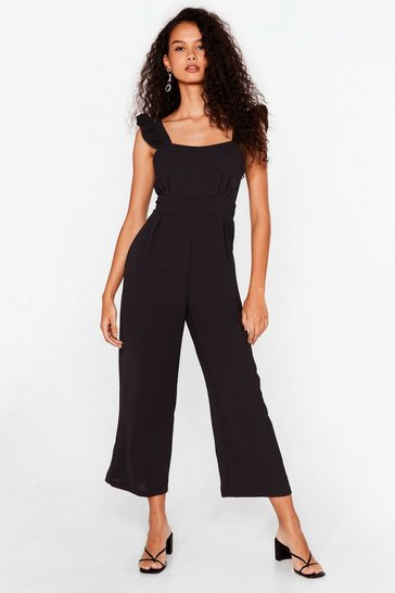 Black Back It Up Cropped Ruffle Jumpsuit