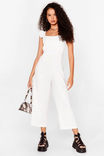 White Back It Up Cropped Ruffle Jumpsuit