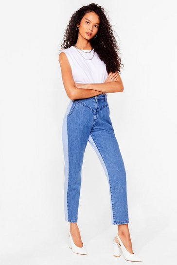 Mid blue Opposites Attract Two-Tone Mom Jeans