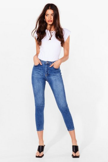 Mid blue Washing Out High-Waisted Skinny Jeans