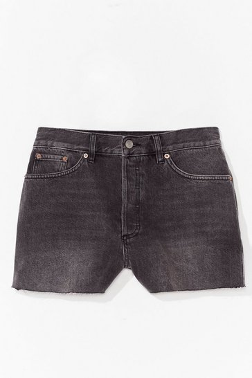 Washed black You Tell Hem Acid Wash Denim Shorts