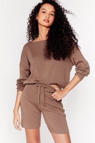 Taupe Take Knit Easy Sweater and Shorts Lounge Set
