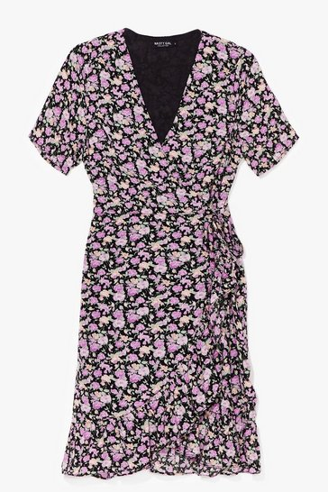 Black Floral Print Ruffle Hem Wrap Dress