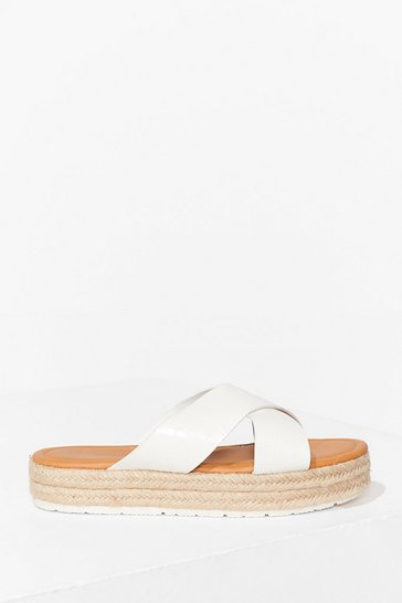 White Let's Croc This Town Woven Platform Sandals