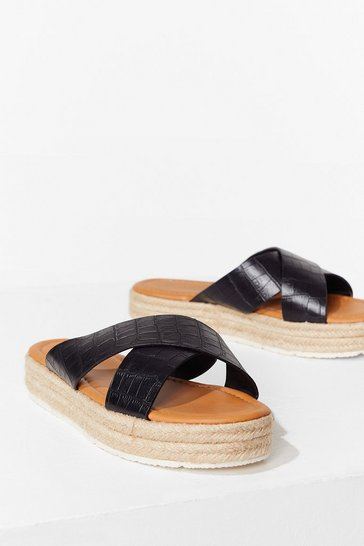 Black Let's Croc This Town Woven Platform Sandals