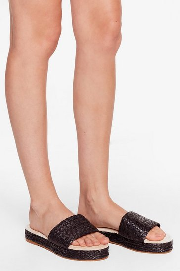 Black Straw the Line Woven Platform Sandals