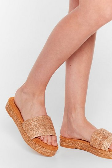 Natural Straw the Line Woven Platform Sandals