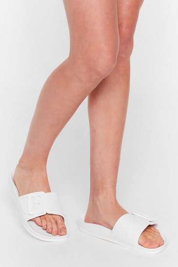 White Buckle Faux Leather Sliders
