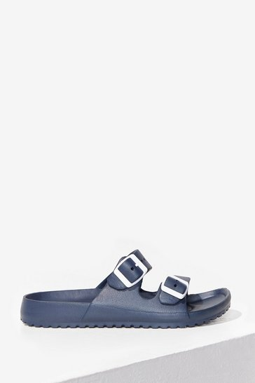 Navy Walkin' My Way Buckle Sandals