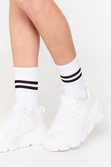 White Stripe Sports Sock