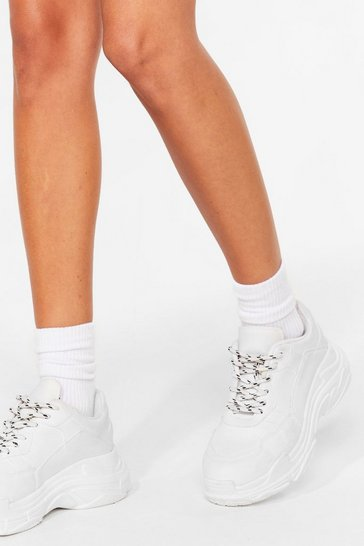 White Plain Ribbed Ankle Socks