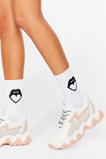 White Mouth Off Graphic Ribbed Ankle Socks